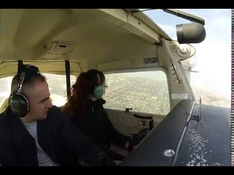 Cessna 152 fly over Blackpool