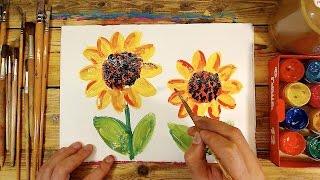 Как нарисовать ПОДСОЛНУХИ цветы / урок рисования красками для детей