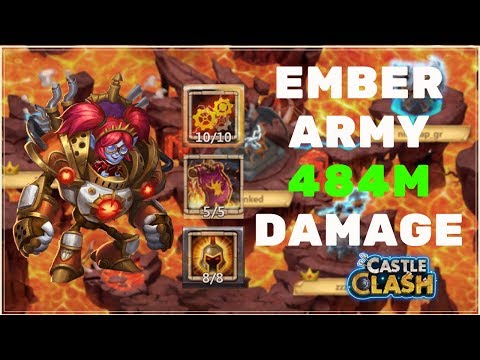 EMBER ARMY 484M DAMAGE WITH MECHTESSA - CASTLE CLASH