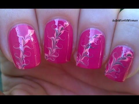 NEEDLE NAIL ART #7 - Quick Pink Fall Nails Design