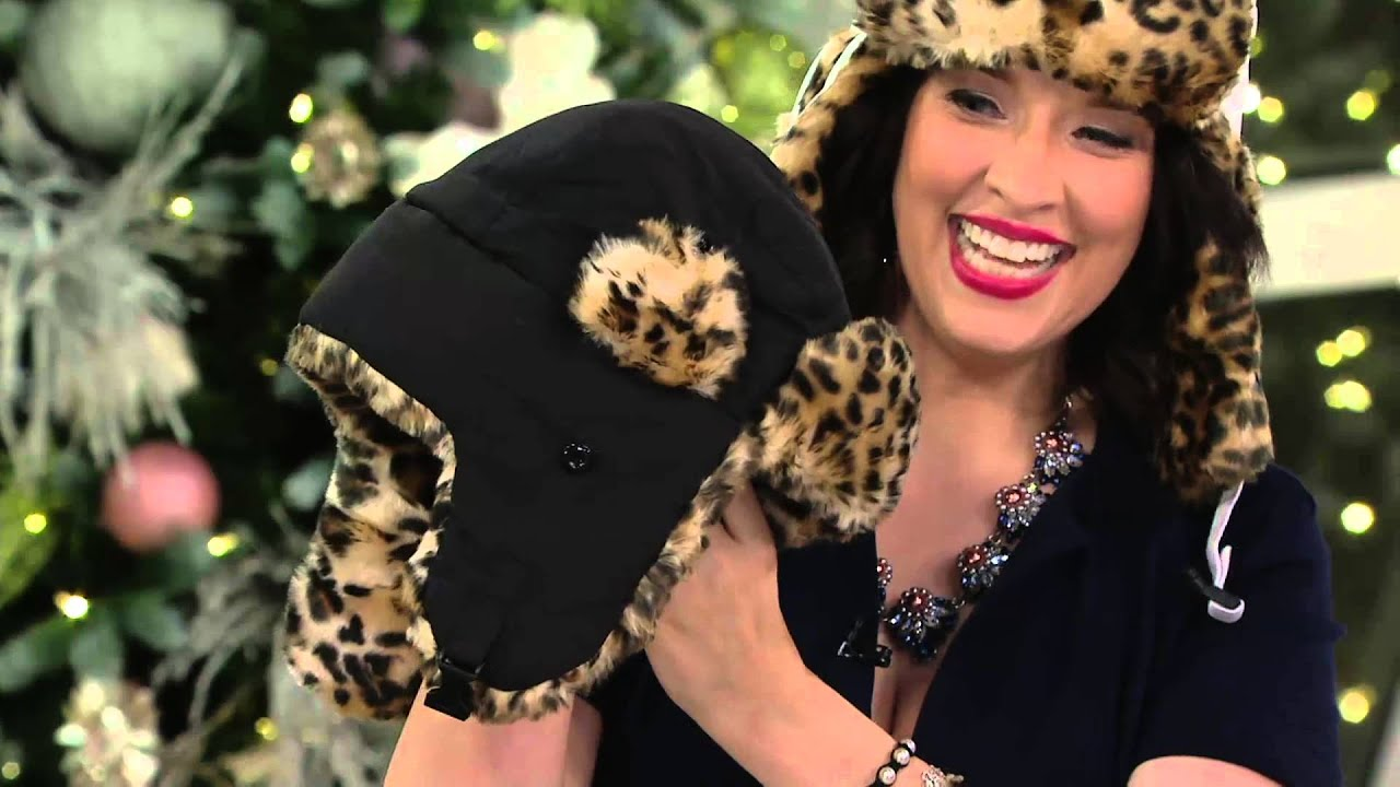 b76dfce7d7d Trapper Hat with Ear Flaps in Leopard Faux Fur Trim on QVC - YouTube
