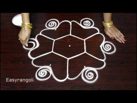 latest rangoli designs with 5 dots || simple muggulu designs || easy kolam  rangoli designs with dot