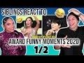 Siblings react to Funny Kpop Idols Being Extra At Award Shows 2020 Ver | 1/2| REACTION 😂🤩