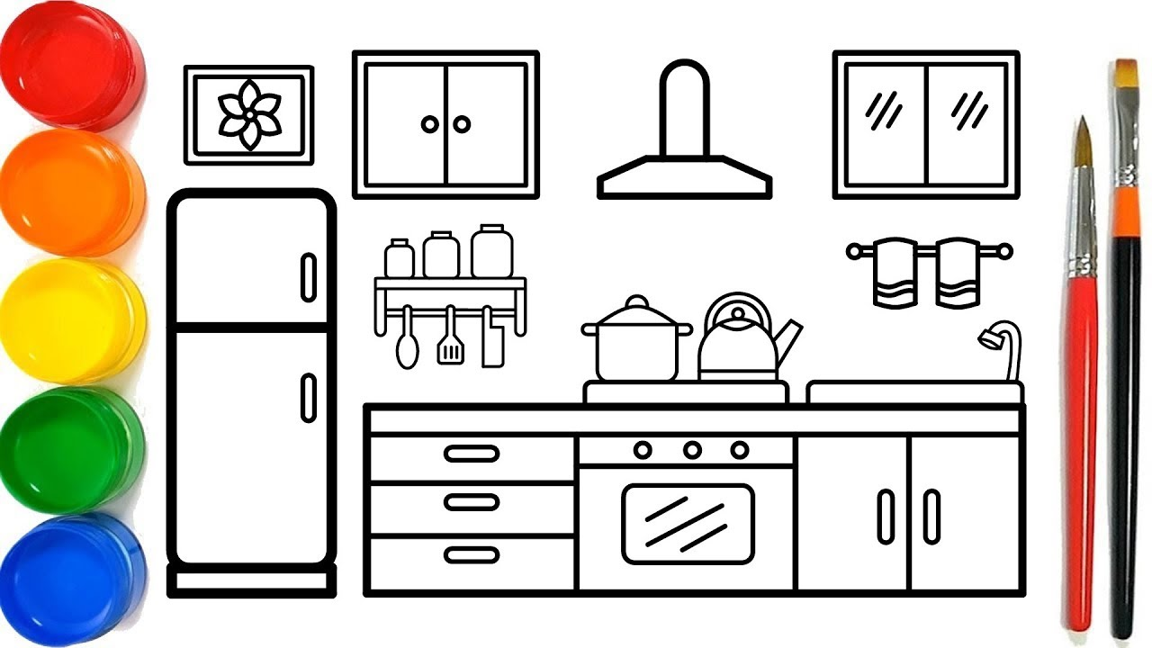Glitter Kitchen Drawing And Coloring Pages For Kids Dapur Halaman Mewarnai Youtube