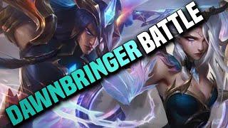 *New Skin Gameplay* Dawnbringer Yone VS Dawnbringer Morgana Battle Mid Lane - League of Legends