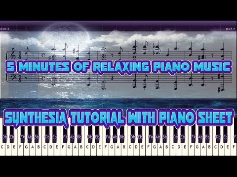 5 min of piano relaxing music with piano sheet ( synthesia tutorial ) thumbnail