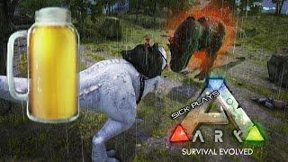 ARK Survival Evolved BEER BARREL - Drunk Rex vs ALPHA Rex