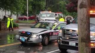 East Providence, RI police cruiser crash