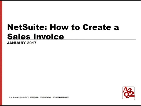 78 NetSuite How to Create a Sales Invoice - YouTube - sales invoice