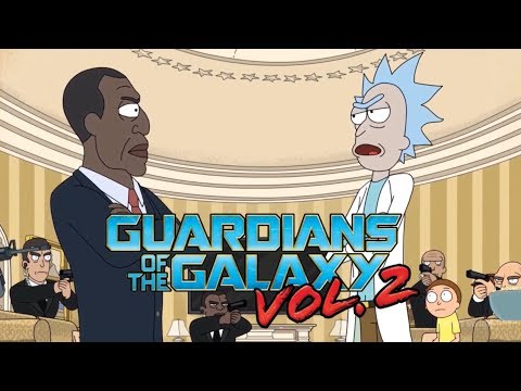 Rick and Morty  President Fight Guardians of the Galaxy 2 Opening