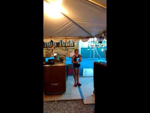 Courtney singing karaoke Jesus take the wheel at NYS Fair Syracuse
