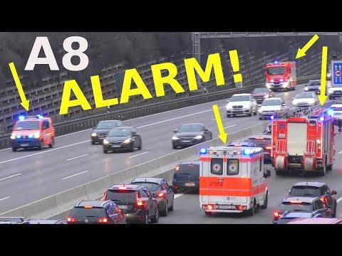 ALARM! Einsatzfahrt Feuerwehr Feuerwache 5 Stuttgart Autobahn A8 - fast perfekte Rettungsgasse