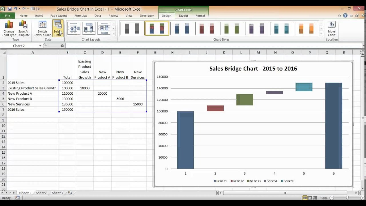 sales bridge chart in excel part 2 cleaning it up. Black Bedroom Furniture Sets. Home Design Ideas