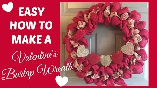 easy two tone burlap wreath tutorial for valentine s day   beingmommywithstyle