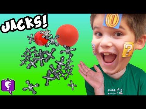 BALL n' JACKS Game! Play Jacks + Super Mario Cubes Lunch Box Surprises, Learn Game HobbyKidsTV