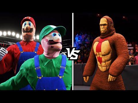 MARIO AND LUIGI VS. DONKEY KONG in WWE 2K20 |