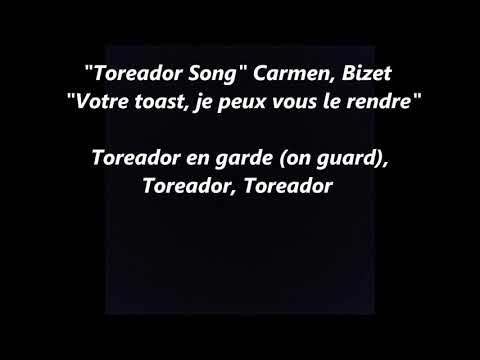 Toreador BULLFIGHTER Song Votre toast OPERA Carmen Bizet LYRICS WORDS I BOUGHT A DISH SING