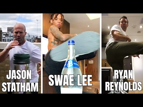 *NEW* Celebrities Doing The Bottle Cap Kick Challenge! (Compilation)