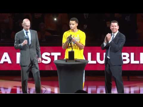 Steph Curry awarded the MVP trophy (Live) - Oakland, Oracle Arena - May 5, 2015
