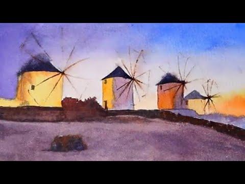 Watercolor of Mykonos Greece landscape demonstration