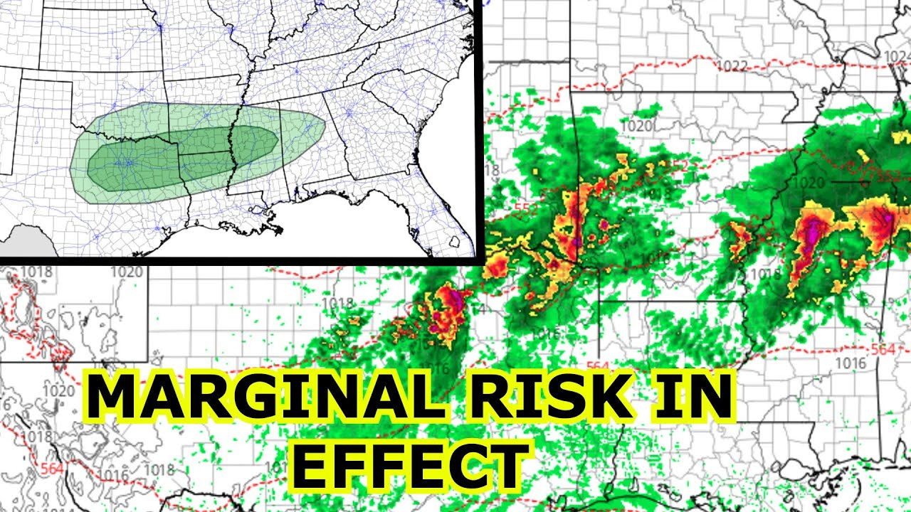 Severe Thunderstorms Across Deep South w Large Hail and Gusty Winds Possible