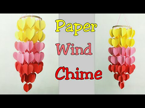 Paper Wind Chime/How to make Wind Chime Out of Paper/Wind Chime Making with Paper Hearts