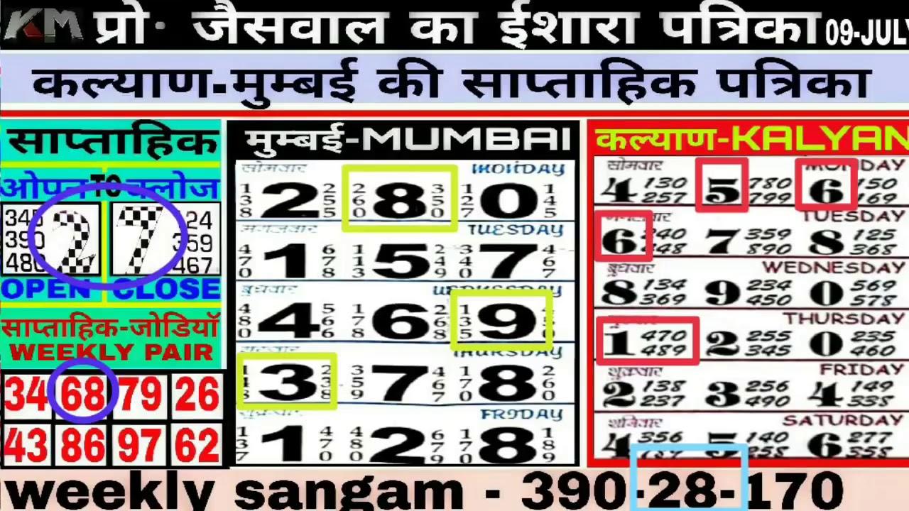 16 07 2018 kalyan weekly chart kalyan open today kalyan patti daily jaiswal  patrika kalyan chart