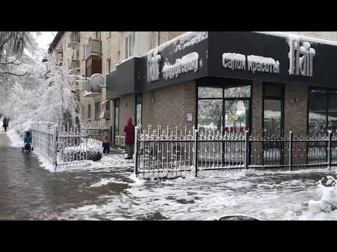 Snow fall in Bishkek Kyrgyzstan
