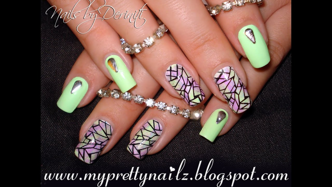 Stained Glass Nail Art Design with Easy DIY Sponge Gradient and BPS ...