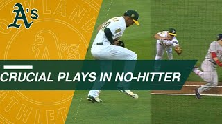 Crucial plays in Sean Manaea's no-hitter