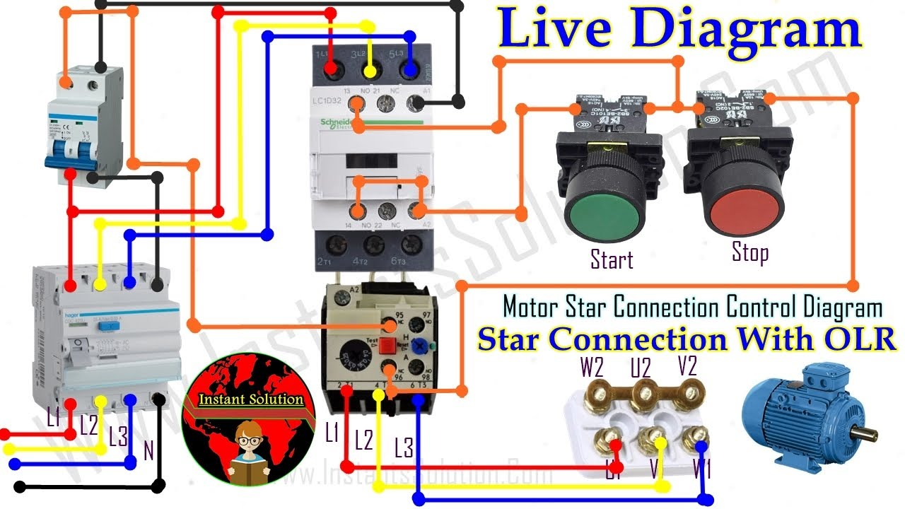 Motor Star Connection, With OLR Control Diagram, Motor Star Diagram,