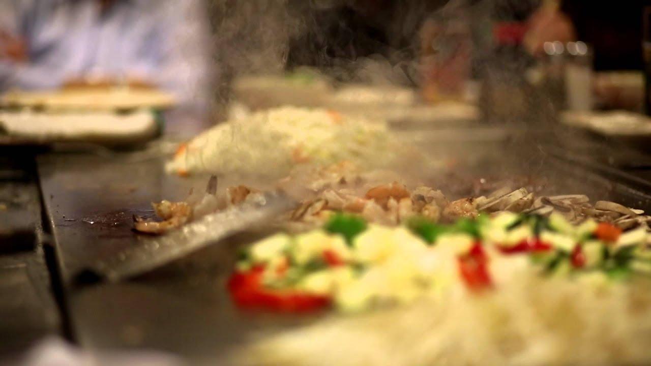 Hibachi Chef cooking Shrimp, Lobster, Seafood, and vegetables at Sakura in Vienna, Virginia ...