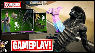 RIPLEY & XENOMORPH BUNDLE Gameplay + Combos! Before You Buy (Fortnite Battle Royale)