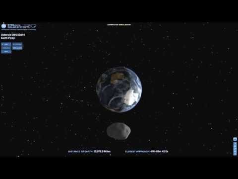 NASA Simulation of Asteroid 2012 DA14 Earth Flyby Today