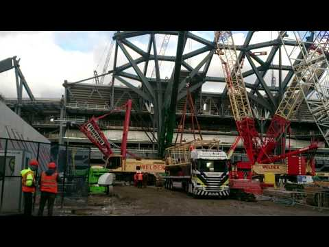 Tottenham's new stadium 5/1/18  South Stand  - more steelwork and concrete terrace units installed