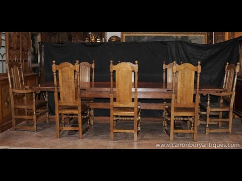 oak farmhouse chairs revolving chair manufacturers in delhi refectory table set william mary youtube
