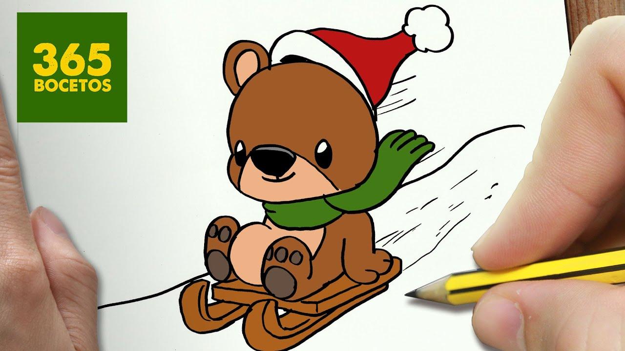 Imagenes De Mickey Y Mimi >> COMO DIBUJAR UN OSO PARA NAVIDAD PASO A PASO: Dibujos kawaii navideños - How to draw a bear ...