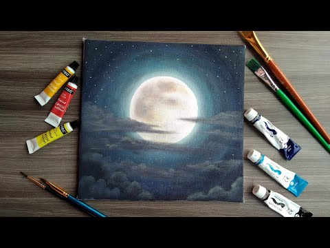 Acrylic painting || Paint a moon