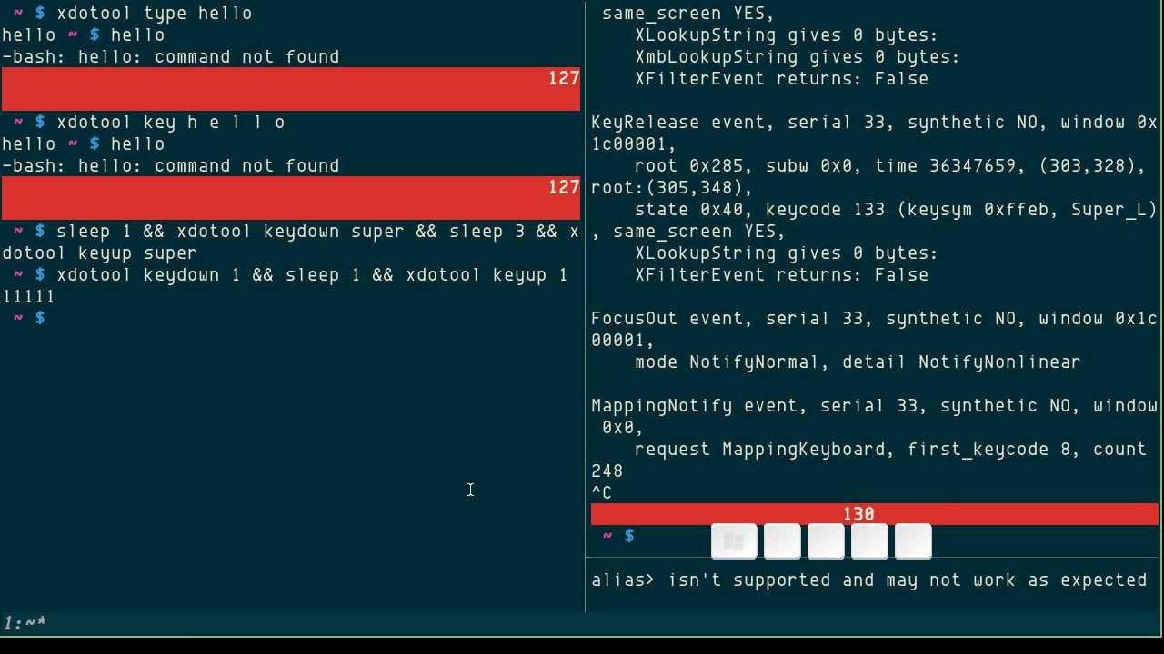 xdotool: simulating keyboard input