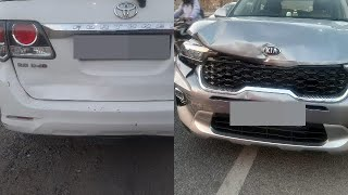 Kia Sonet Accident with Toyota Fortuner