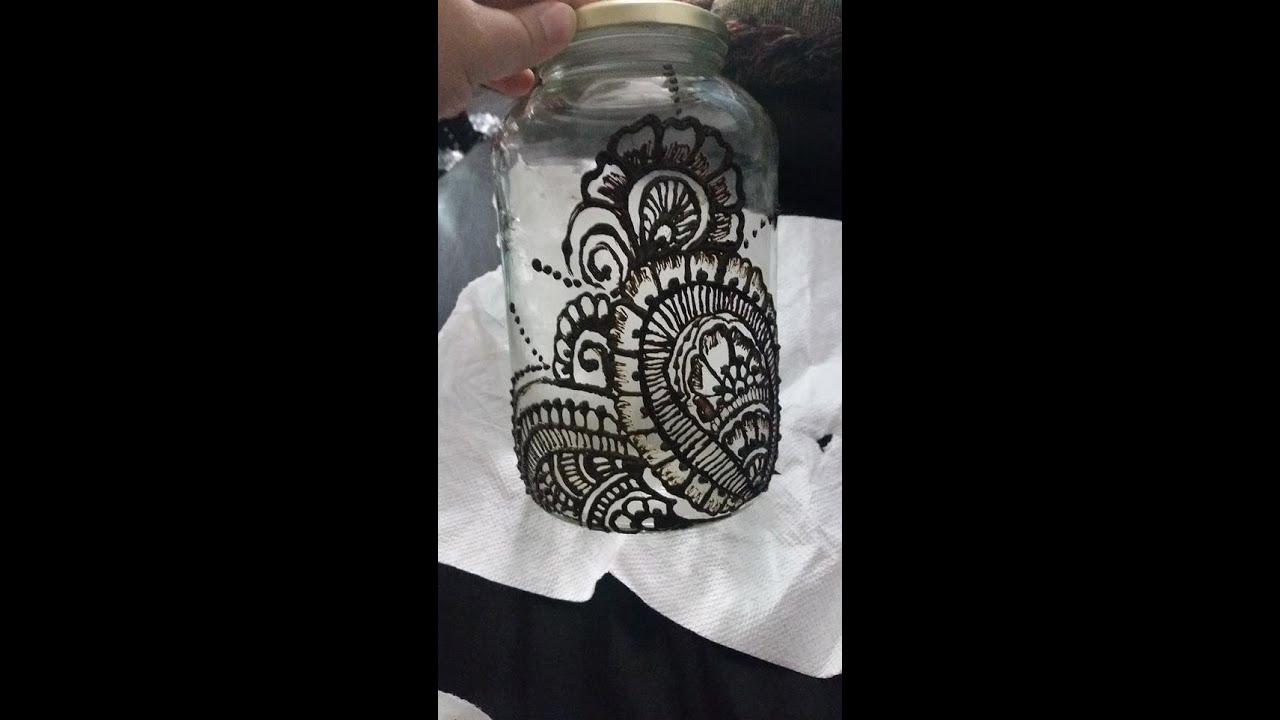 Mehndi Arm Glass : Diy glass jar henna mehndi design tattoo youtube
