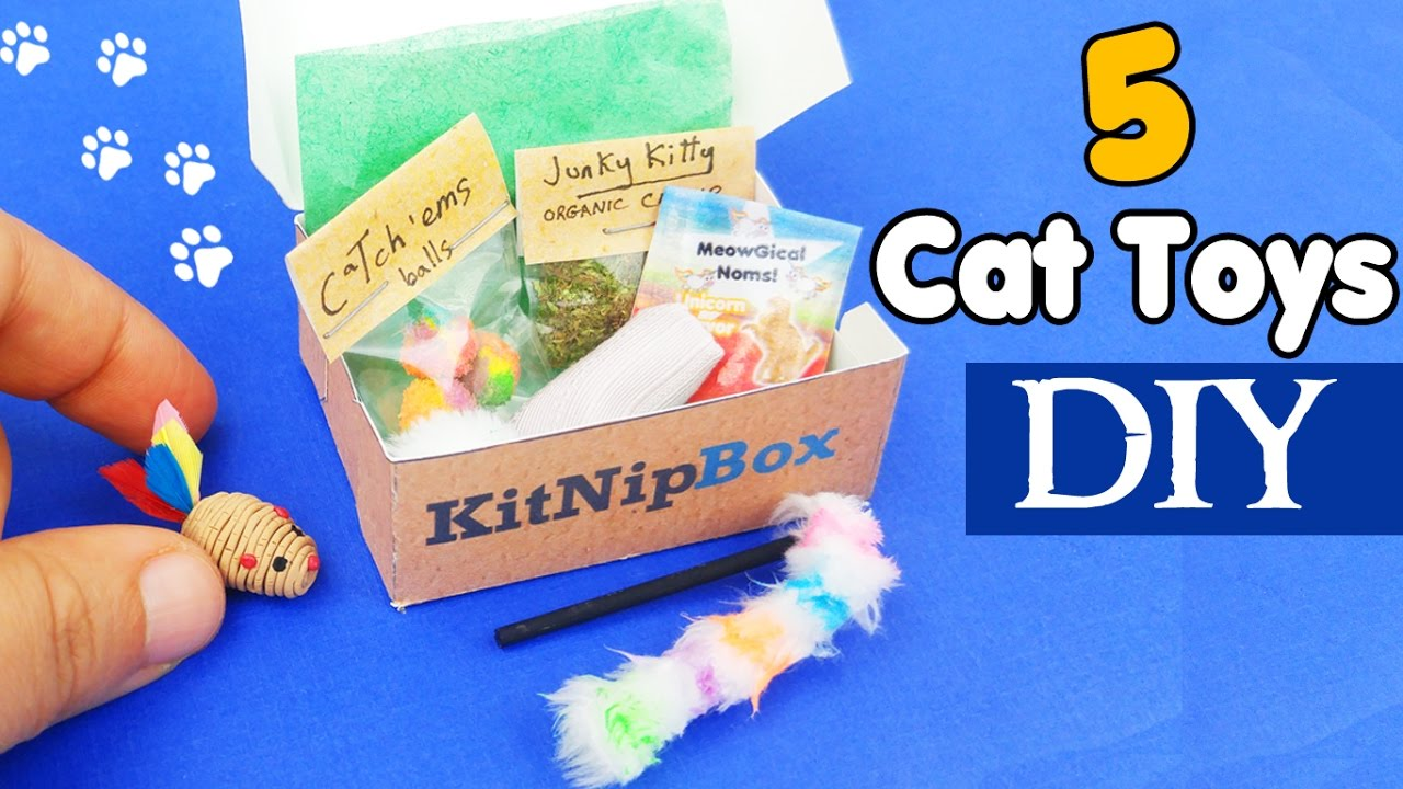 How to make 5 miniature cat toys subscription box diy for Toys r us crafts