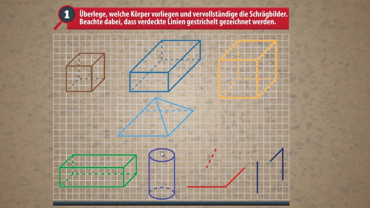 Körper - Würfel, Quader, Pyramide, Kegel, Zylinder - Schrägbild ...