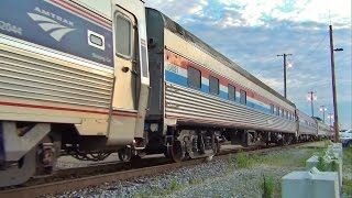 Amtrak Heritage Units Lead Southwest Chief with 3 Private Cars, 5 Business Cars - Ft Madison, IA