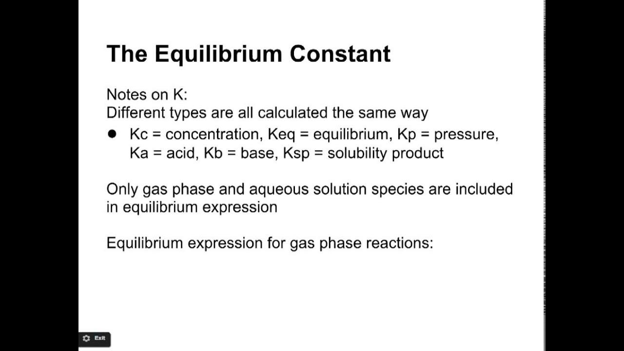 11 2 Equilibrium Constant (K)