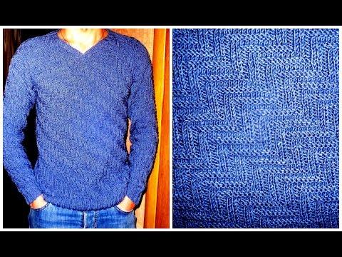 Вязание спицами оригинального узора для мужских свитеров, снудов, жилетов