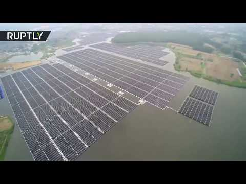 Aerial: World's largest floating solar plant up and running in China