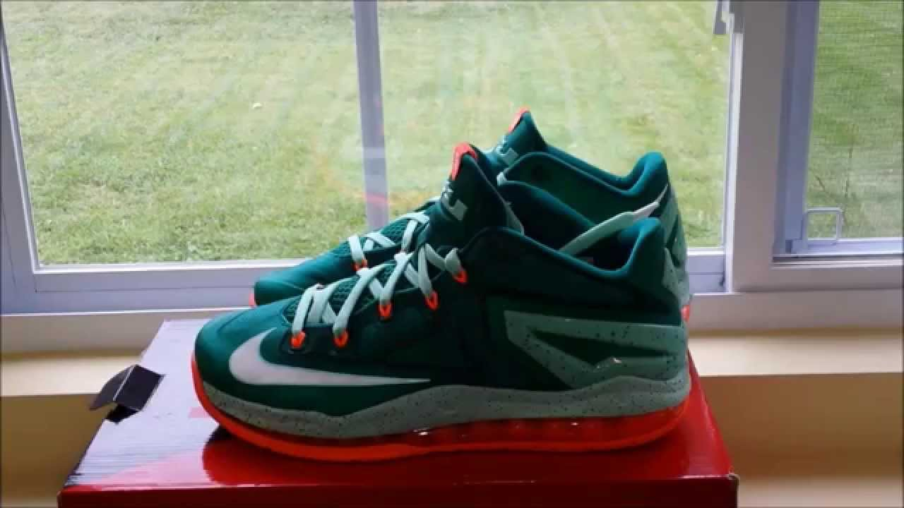 43e611f1143c Lebron 11 Low Mystic Green Review - YouTube