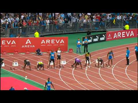 Usain Bolt defeats Asfa Powell in Stade de France (Paris) 100m 16.07.10. (including interview)