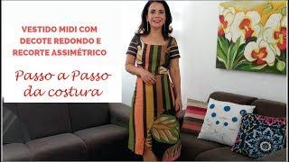 COSTURA VESTIDO MIDI COM DECOTE REDONDO COM SAIA EVASE COM RECORTE ASSIMÉTRICO COM CÉLIA ÁVILA